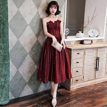 Uroczy Burgund Sukienki Wieczorowe 2020 Princessa Bez Ramiączek Cekiny Bez Rękawów Bez Pleców Długość Herbaty Sukienki Wizytowe