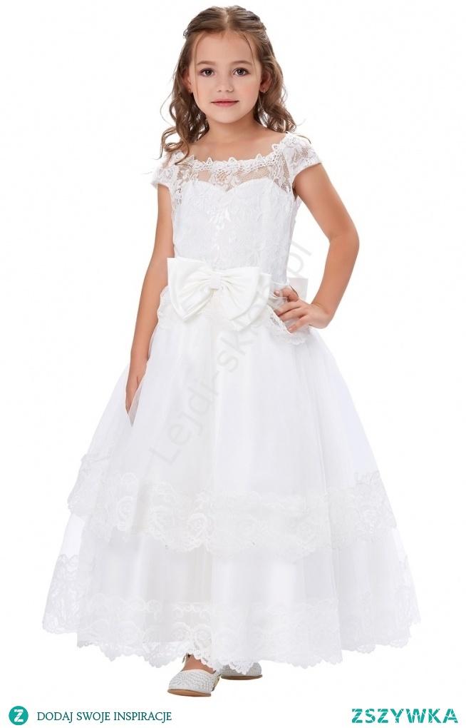 Piękna biała sukienka komunijna dla dziewczynki. Sukienka na komunię. Sukienka do komunii. Biała sukienka dla dziewczynki. lejdi.pl