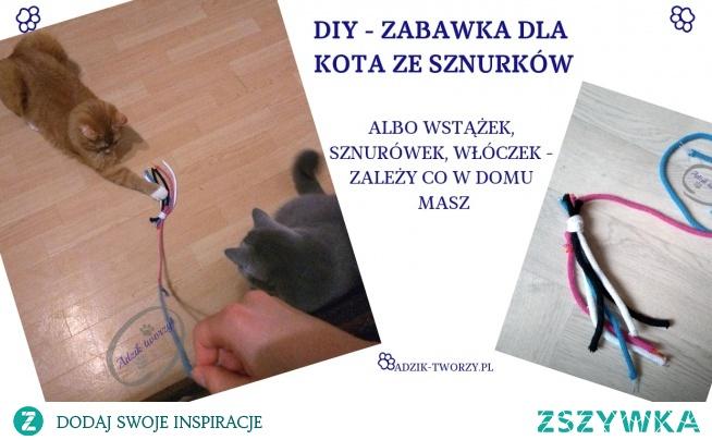 Coś z niczego, czyli zabawka dla kota DIY z resztek sznurków!  Zabawkę zrobisz dosłownie w kilka minut, a Twój zwierzak będzie mieć zabawę na dłuuugi czas. :)  Po instrukcje oraz informacje o tym, dlaczego zabawa w życiu kota jest tak ważna, KLIKnij w zdjęcie lub zajrzyj na blog DIY Adzik-tworzy.pl