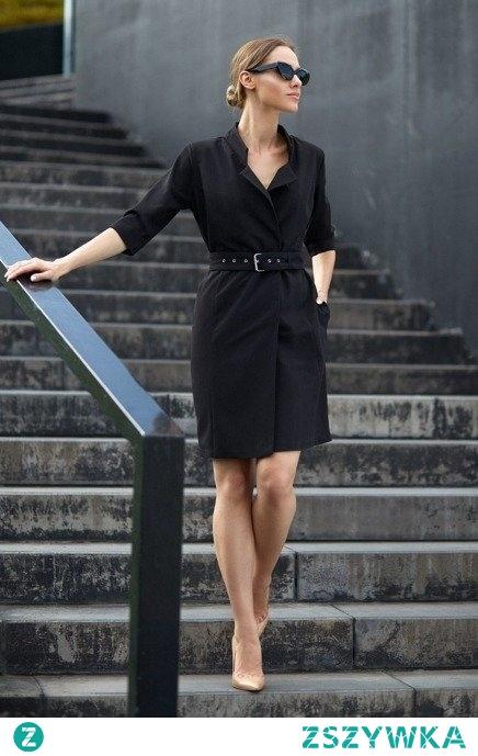 Żakietowa kopertowa elegancka sukienka z paskiem Sukienki.shop