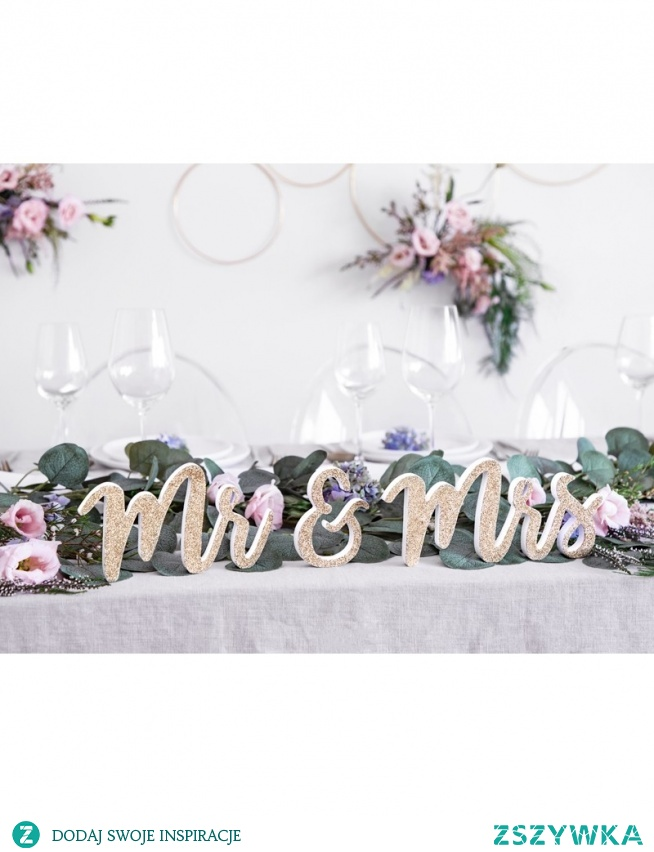 Drewniany napis na stół Pary Młodej Mr&Mrs