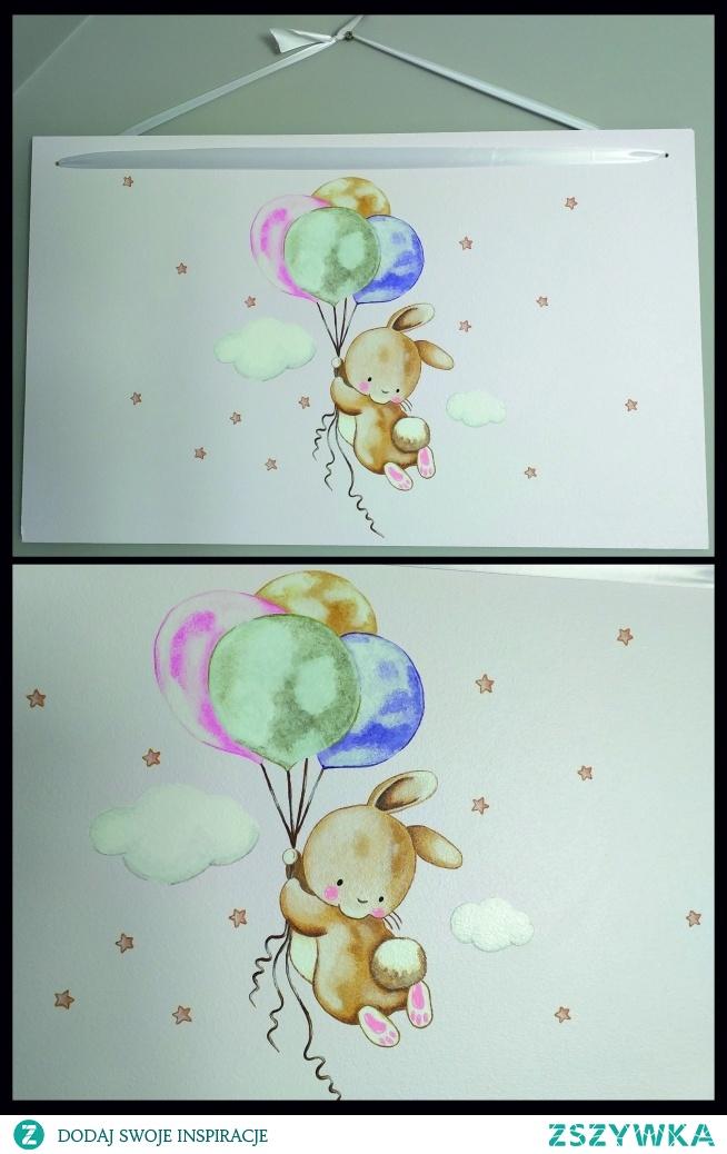 Króliczek i balony. Obraz na płycie, 40 x 60 cm, farbami emaliowymi.