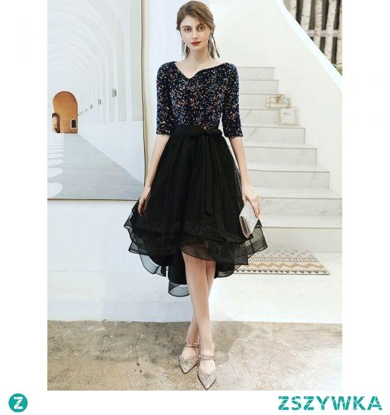 Moda Czarne Sukienki Koktajlowe 2020 Princessa V-Szyja Cekiny Kokarda 1/2 Rękawy Asymetryczny Sukienki Wizytowe