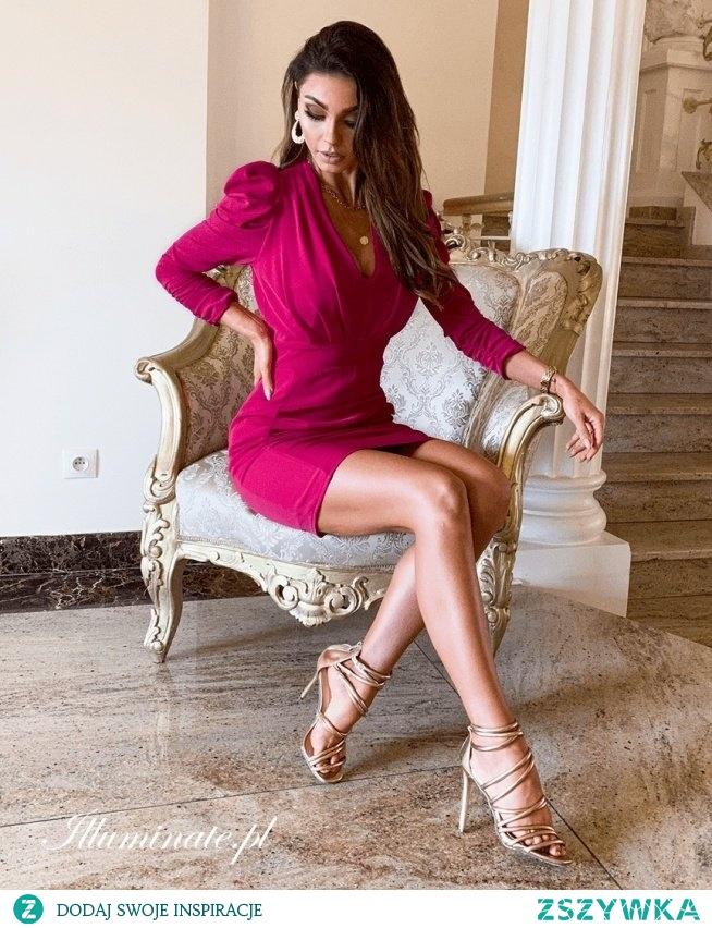Krótka sukienka z rękawem w kolorze fuksji z kolekcji illuminate.pl