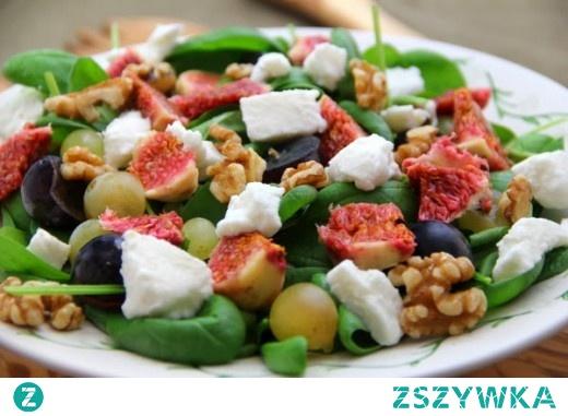 Sałatka z winogronami, figami i mozzarellą
