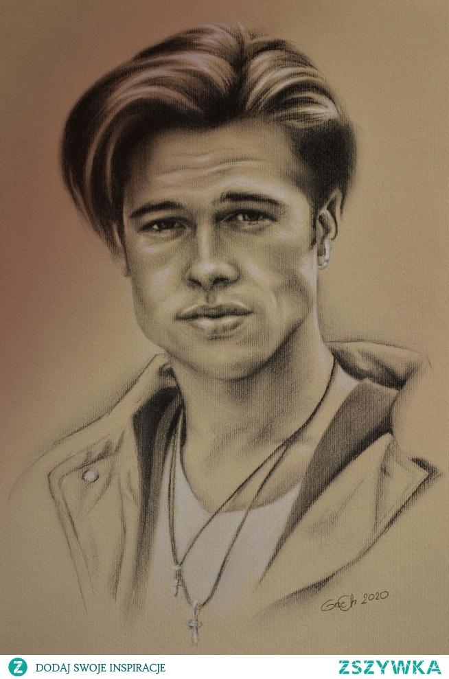 Brad Pitt, ołówek 8b, biała sucha pastel