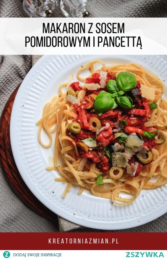 Makaron z pancettą w sosie pomidorowym w 15 minut