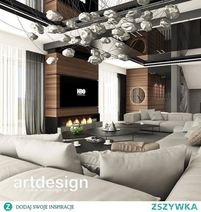 Wnętrze, w którym aż chce się przebywać - nowoczesny salon z pięknym kominkiem. | SECOND TO NONE | Wnętrza rezydencji