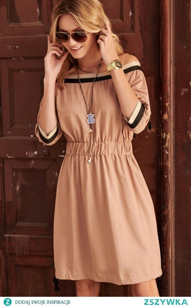 Dzienna sukienka cappucino Makadamia M537