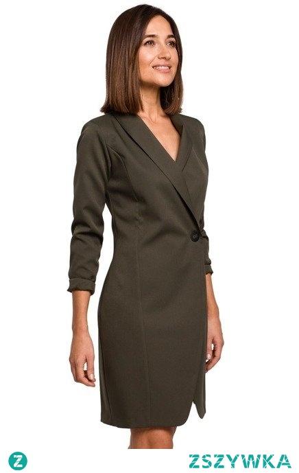 Elegancka biznesowa żakietowa sukienka na jeden guzik Sukienki.shop