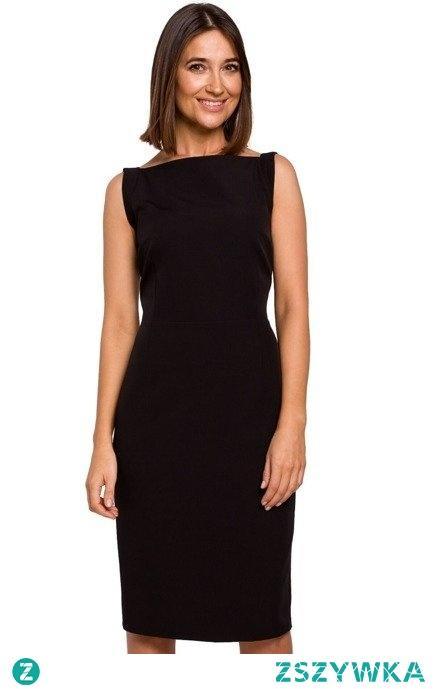 Elegancka ołówkowa gładka sukienka midi Sukienki.shop