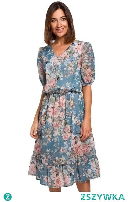 Ekskluzywna szyfonowa sukienka w kwiaty Sukienki.shop