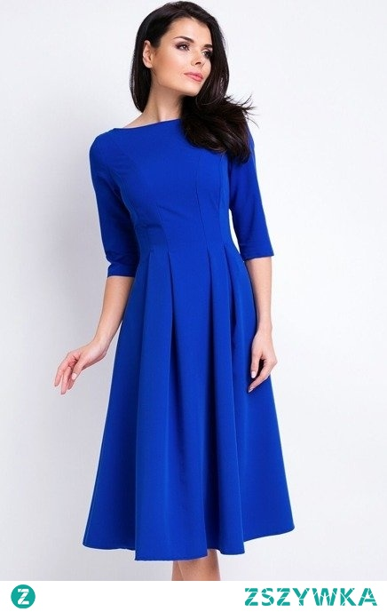 Elegancka rozkloszowana sukienka midi Sukienki.shop