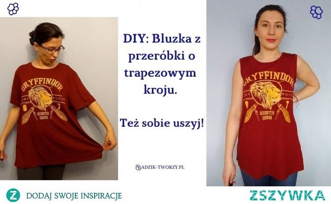 Za wielki t-shirt? Przerób go na trapezową bluzkę DIY!  Instrukcje na szycie krok-po-kroku znajdziesz po KLIKnięciu w zdjęcie oraz na blogu Adzik-tworzy.pl