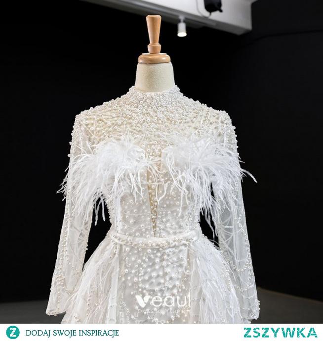 Luksusowe Białe Perła Pióro Suknie Ślubne 2020