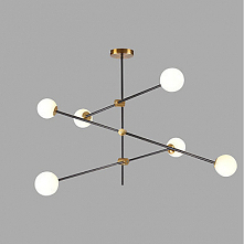 6 Light Sputnik Chandelier Ambient Light Gold Painted Finishes Metal Glass Cr...