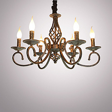 6 Light Candle-style Chandelier Ambient Light Painted Finishes Metal Candle S...