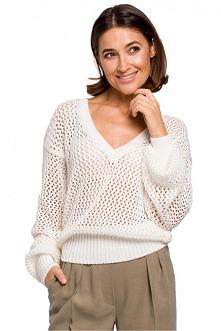 Luźny ażurowy sweter na lat...