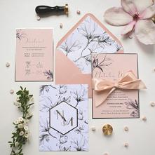 Zaproszenie ślubne z magnolią.