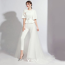 Moda Białe Kombinezon Z Sza...