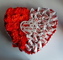 Serce ze słodyczy na Dzień Mamy.  Strona na fb: Kleo Art