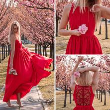 Maxi czerwona sukienka na w...