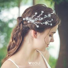 Proste / Simple Srebrny Ozdoby Do Włosów Ozdoby Do Włosów Ślubne 2020