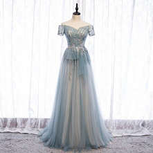 Uroczy Błękitne Sukienki Wieczorowe 2020 Princessa Frezowanie Perła Cekiny Z Koronki Kwiat Przy Ramieniu Bez Pleców Długie Sukienki Wizytowe