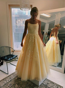 Daffodil Spaghetti Straps Tulle Sleeveless Long Prom Dresses With Appliques M...