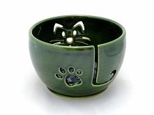 yarn bowl, miska na włóczkę, misa na wełnę, zielona miska, miska z kotem, kot...