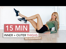 15 MIN THIGH WORKOUT - focus on inner thighs, tone & tighten / No Equ...