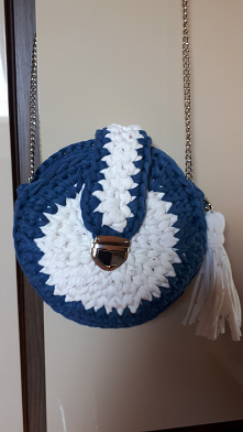 Morska torebka na szydełku....