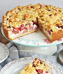 """Kruche ciasto """"Rabarbarowe LOVE"""" z budyniem i serem. Przepis po kliknięciu w zdjęcie."""