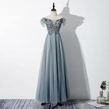 Piękne Jade Zielony Sukienki Wieczorowe 2020 Princessa Przy Ramieniu Frezowanie Cekiny Z Koronki Kwiat Kótkie Rękawy Bez Pleców Długie Sukienki Wizytowe