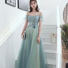 Eleganckie Szałwia Zielony Sukienki Wieczorowe 2020 Princessa Przy Ramieniu Frezowanie Cekiny Aplikacje Kótkie Rękawy Bez Pleców Długie Sukienki Wizytowe