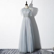 Eleganckie Szary Sukienki Wieczorowe 2020 Princessa Wycięciem Frezowanie Cekinami Cekiny Bez Rękawów Bez Pleców Długie Sukienki Wizytowe