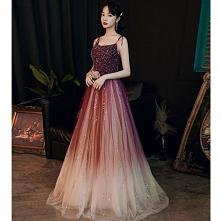 Uroczy Burgund Sukienki Wieczorowe 2020 Princessa Spaghetti Pasy Frezowanie Cekiny Bez Rękawów Bez Pleców Długie Sukienki Wizytow