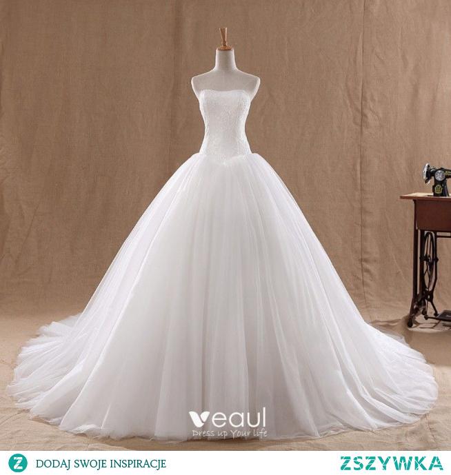 Niedrogie Białe ślubna Suknie Ślubne 2020
