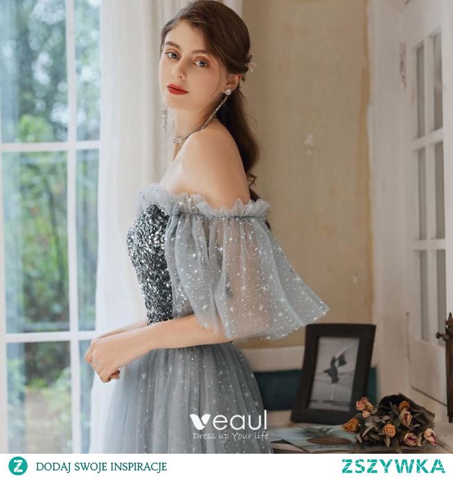 Eleganckie Szary Sukienki Wieczorowe 2020