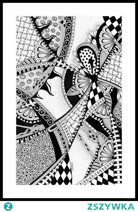 L\Klasyczny przykład sztuki Zentangle