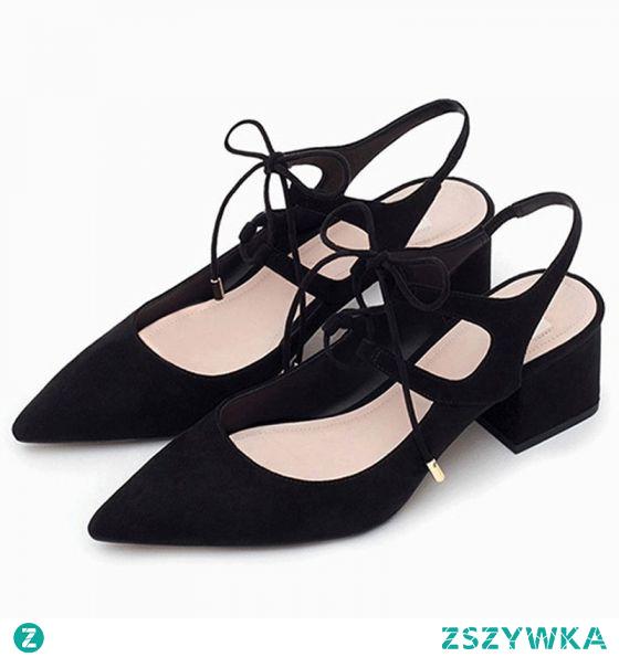 Proste / Simple Lato Czarne Przypadkowy Sandały Damskie 2020 Zamszowe 5 cm Grubym Obcasie Peep Toe Sandały
