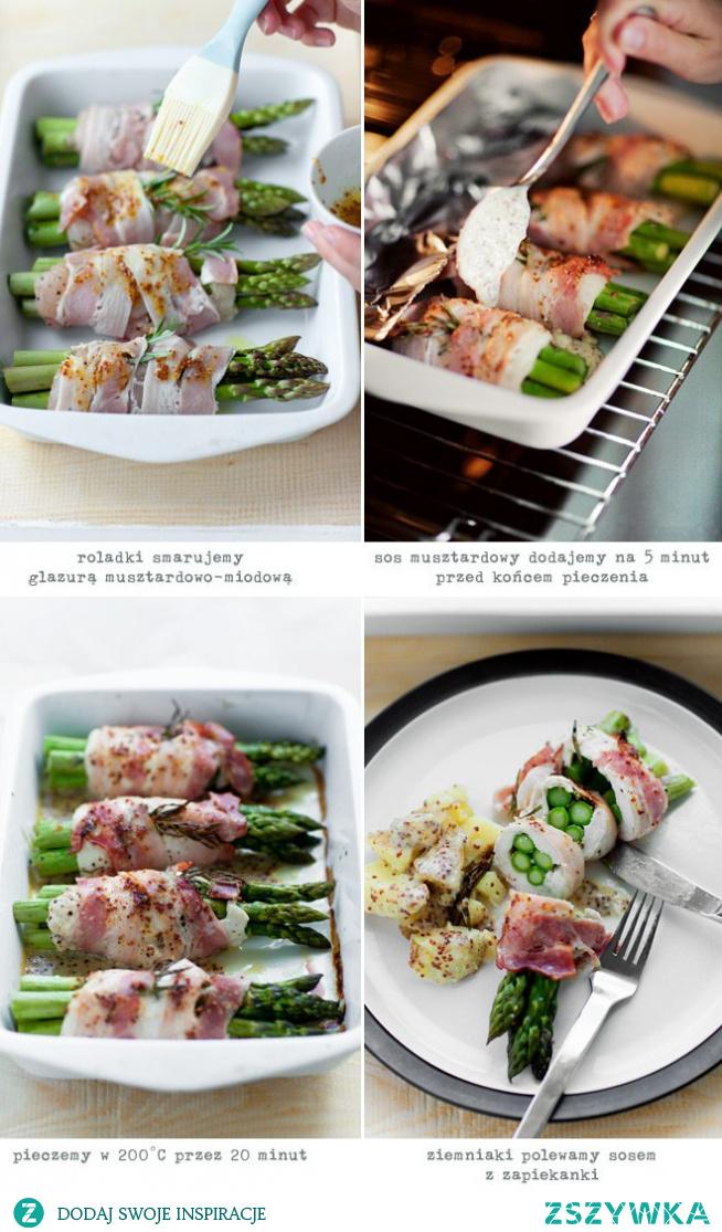 roladki ze szparagami i kurczakiem w boczku