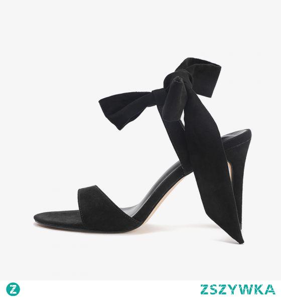 Proste / Simple Lato Czarne Zużycie ulicy Zamszowe Sandały Damskie 2020 Kokarda Z Paskiem 8 cm Szpilki Peep Toe Sandały