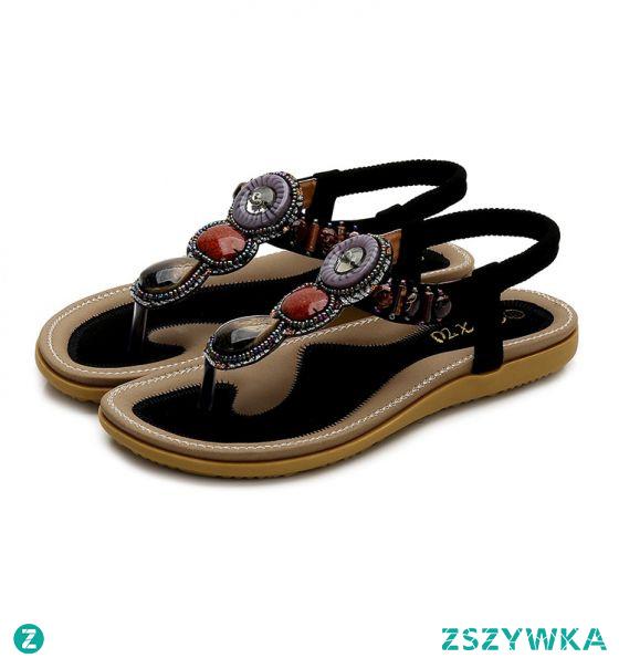 Proste / Simple Lato Czarne Plaża Pantofle & Klapki 2020 Kryształ T-Bar Peep Toe Sandały Damskie