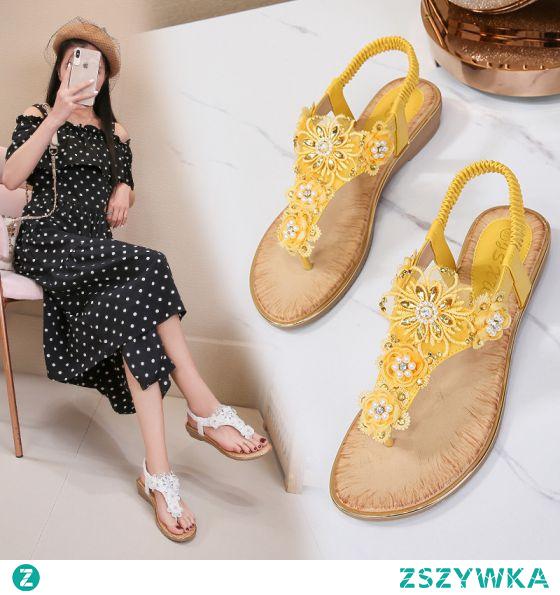 Piękne Lato Żółta Przypadkowy Pantofle & Klapki 2020 Perła Rhinestone Z Koronki Kwiat Peep Toe Sandały Damskie