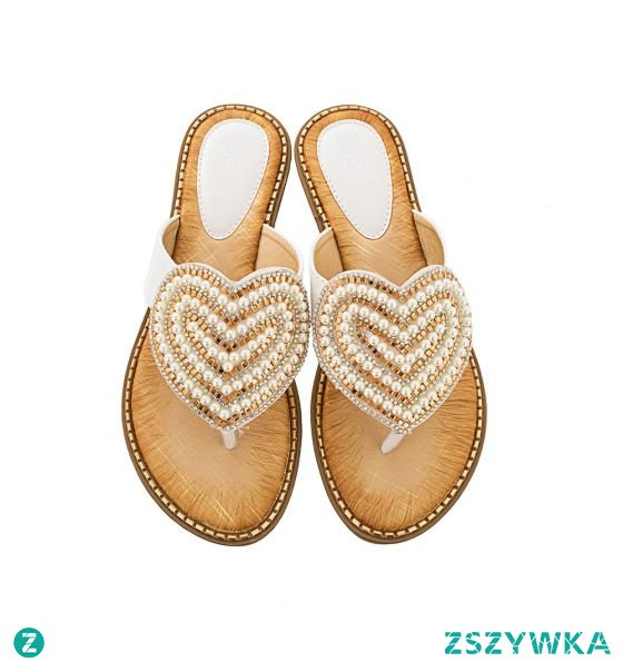 Piękne Lato Białe Przypadkowy Pantofle & Klapki 2020 Perła Rhinestone Peep Toe Sandały Damskie