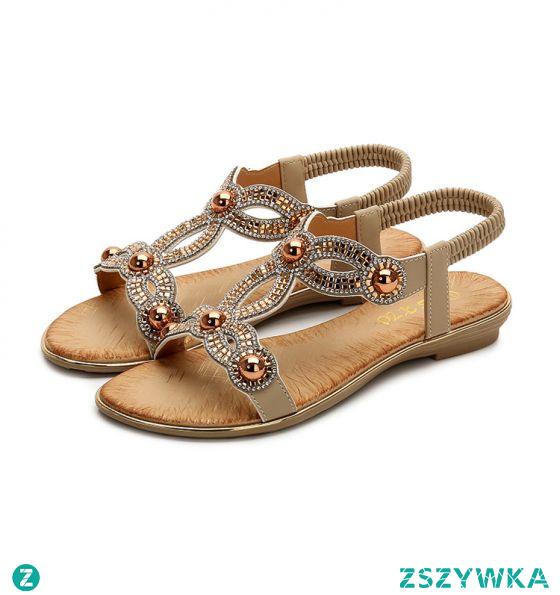 Moda Lato Beżowe Plaża Pantofle & Klapki 2020 Perła Rhinestone Peep Toe Sandały Damskie