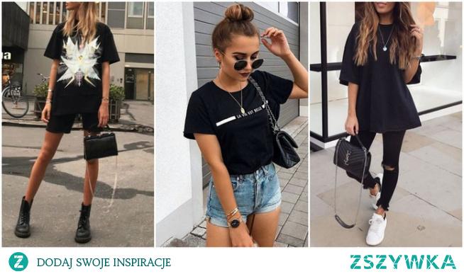 Letnie stylizacje z czarnym T-shirtem