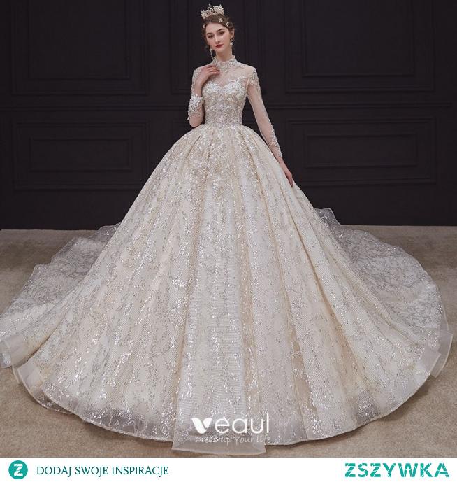 Luksusowe Szampan ślubna Suknie Ślubne 2020