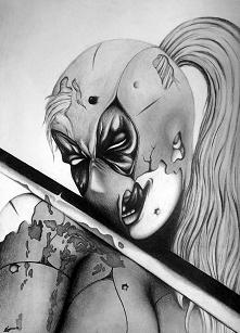 Deadpool, kobieta z mieczem.